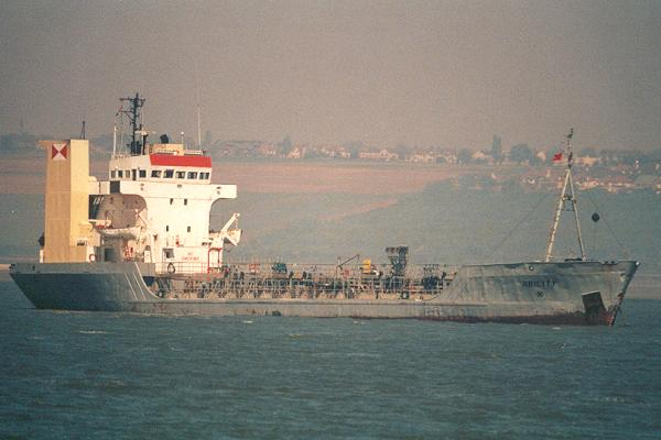Ability pictured at anchor on the River Thames on 12th May 2001