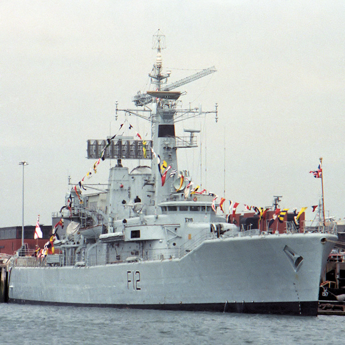 Achilles pictured in Portsmouth Naval Base on 11th June 1988