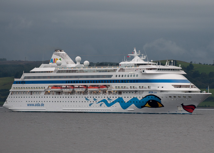 AIDAcara pictured arriving at Greenock Ocean Terminal on 8th August 2014