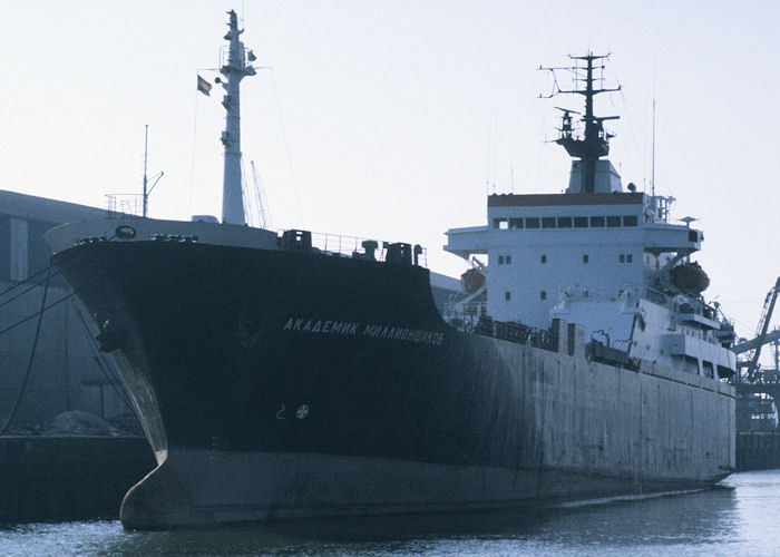 Akademik Millionschikov pictured laid up in Waalhaven, Rotterdam on 14th April 1996