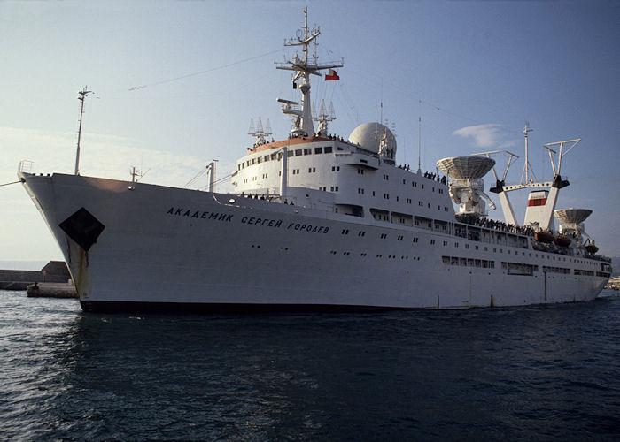 Akademik Sergey Korolev pictured departing Marseille on 5th July 1990