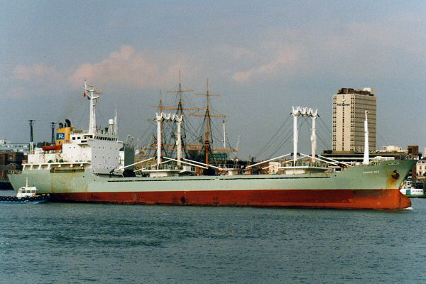 Akashi Rex pictured departing Portsmouth on 2nd April 1996