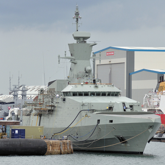 Al Shamikh pictured fitting out in Portsmouth Naval Base on 6th August 2011