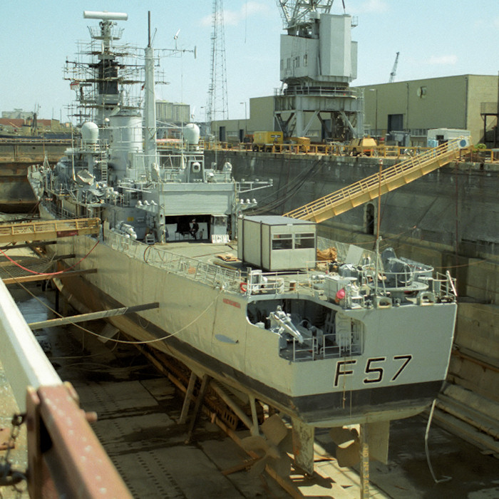 Andromeda pictured in dry dock in Portsmouth Naval Base on 29th August 1988