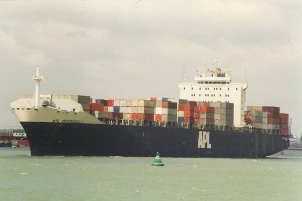 APL Indonesia pictured departing Southampton on 29th April 1997