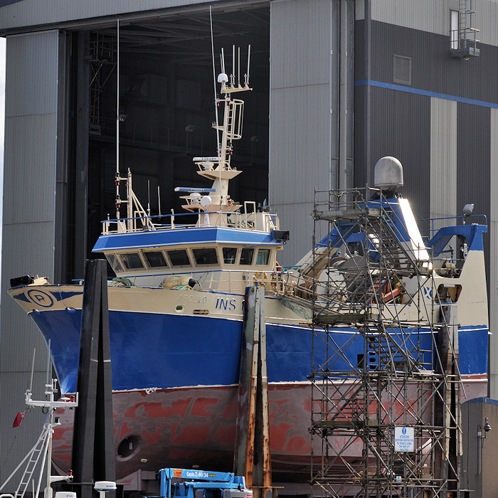 Apollo pictured undergoing refit at Peterhead on 15th April 2012
