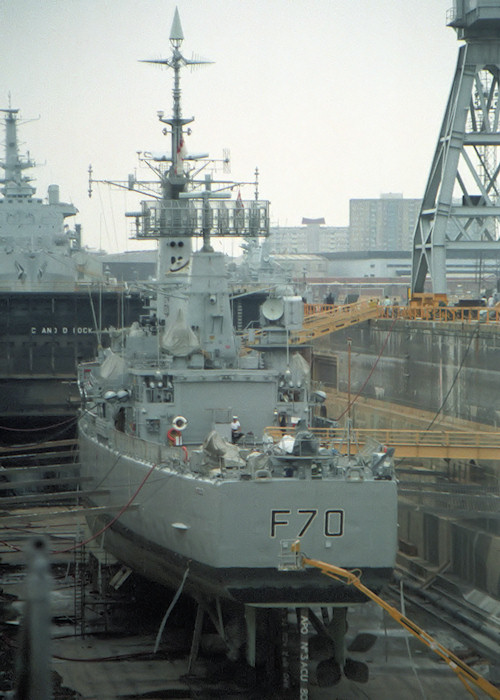 Apollo pictured in dry dock at Portsmouth Naval Base on 29th August 1987