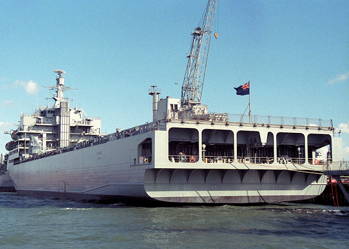 Argus pictured in Portsmouth Naval Base on 26th March 1988