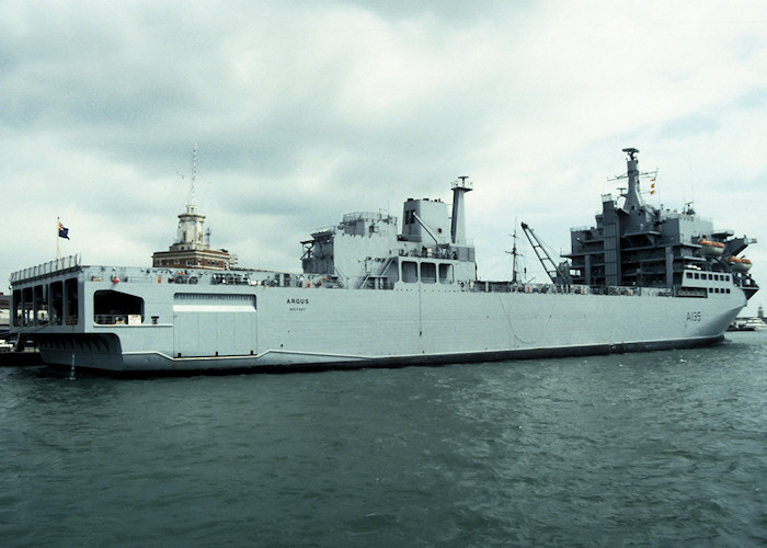 Argus pictured in Portsmouth Naval Base on 17th July 1988