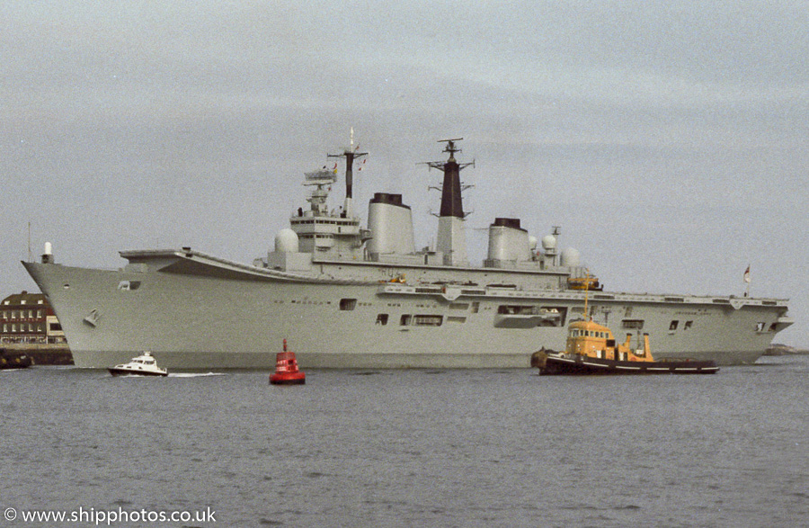 Ark Royal pictured entering Portsmouth Harbour on 29th May 1987