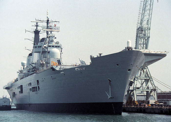 Ark Royal pictured in Portsmouth Naval Base on 14th May 1988