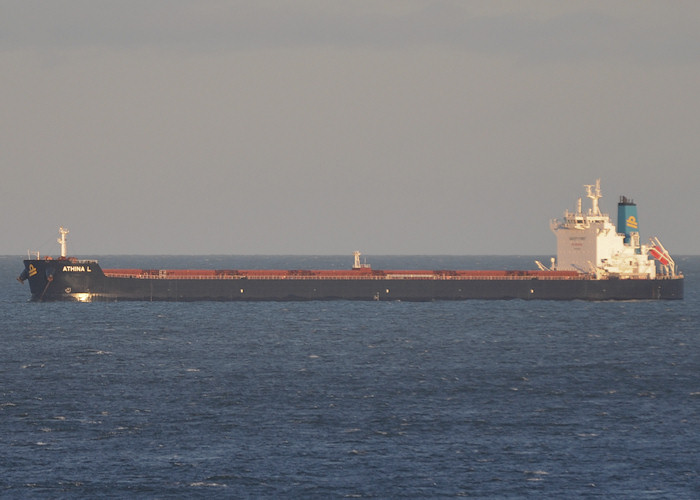 Athina L pictured at anchor off Tynemouth on 31st December 2012