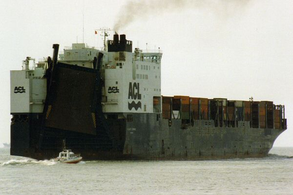 Atlantic Compass pictured departing Le Havre on 4th March 1994