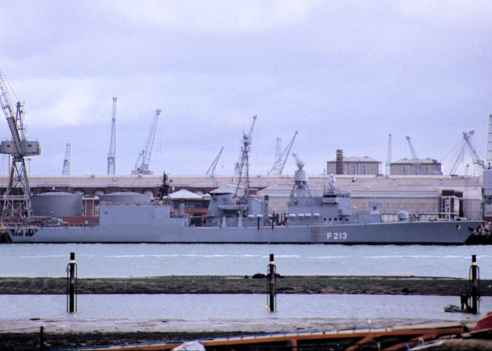 Augsburg pictured in Portsmouth Naval Base on 27th October 1990