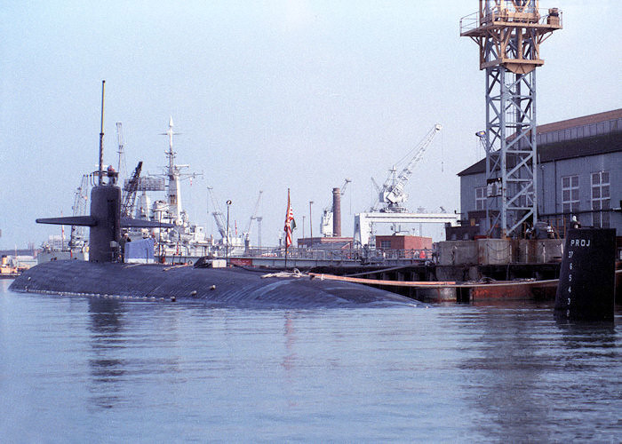 Augusta pictured at Portsmouth Naval Base on 20th February 1988