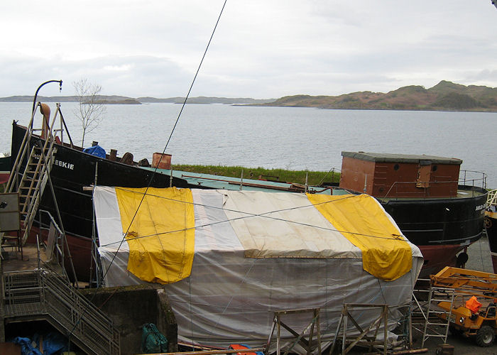 Auld Reekie pictured at Crinan Boatyard undergoing restoration on 23rd April 2011