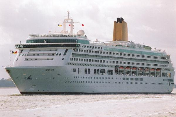 Aurora pictured departing Southampton on 22nd July 2001