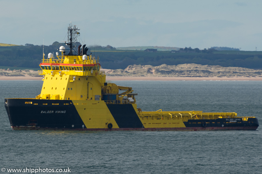 Balder Viking pictured at anchor in Aberdeen Bay on 17th May 2015