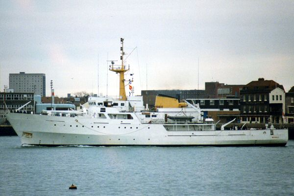 Beagle pictured arriving in Portsmouth on 21st January 1994
