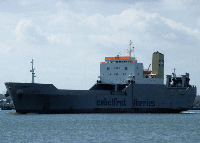 Belvaux pictured departing Southampton on 14th August 1997