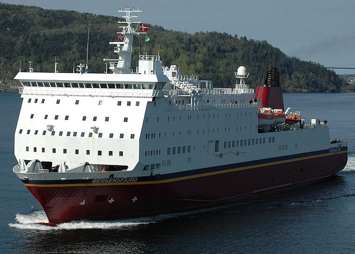 Bergensfjord pictured arriving at Bergen on 5th May 2008