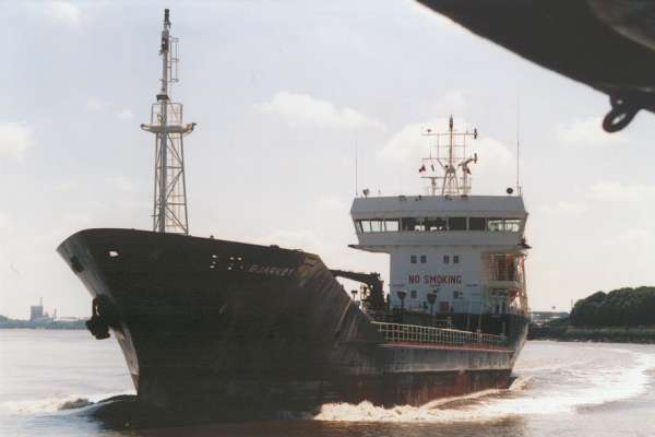 Bjarkoy pictured on the River Mersey on 5th August 2000