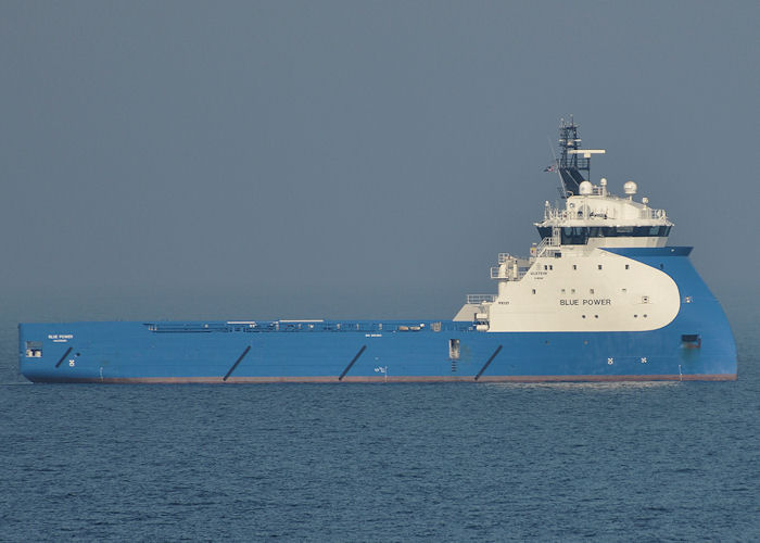 Blue Power pictured at anchor in Aberdeen Bay on 7th May 2013
