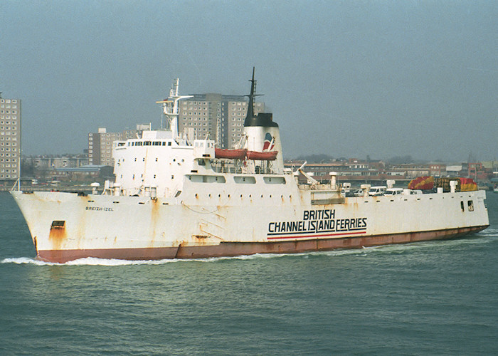Breizh-Izel pictured departing Portsmouth Harbour on 12th April 1988