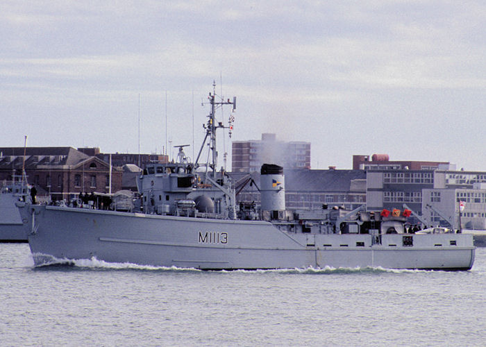 Brereton pictured arriving in Portsmouth Harbour on 28th October 1990