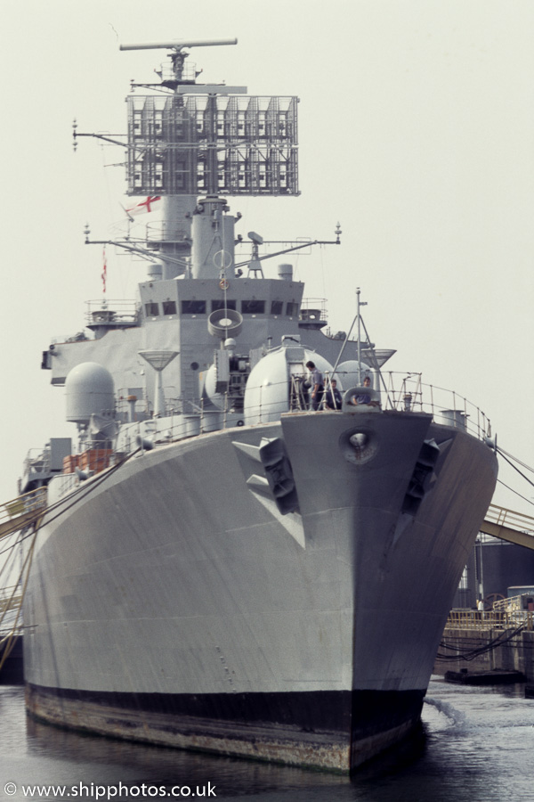 Bristol pictured at Portsmouth Naval Base on 25th August 1984