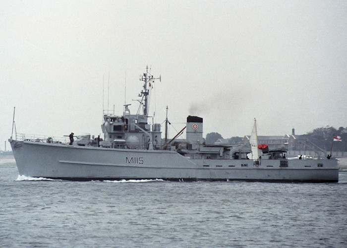 Bronington pictured departing Portsmouth Harbour on 7th May 1988