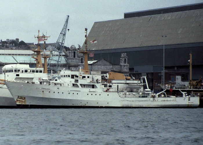 Bulldog pictured in Devonport Naval Base on 10th August 1988