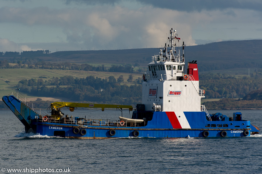 Cameron pictured passing Greenock on 18th October 2015