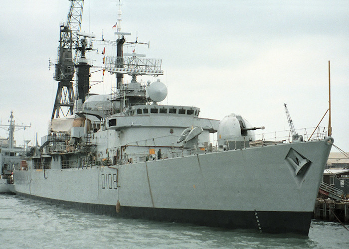 Cardiff pictured in Portsmouth Naval Base on 17th July 1988