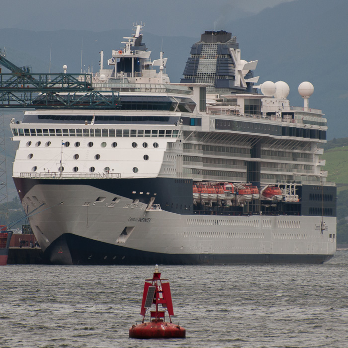 Celebrity Infinity pictured at Greenock Ocean Terminal on 11th August 2014