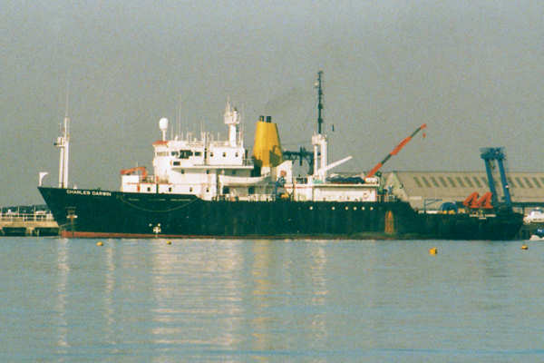 Charles Darwin pictured departing Southampton on 21st September 1999