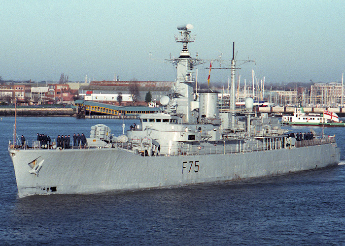 Charybdis pictured departing Portsmouth Harbour on 7th February 1988