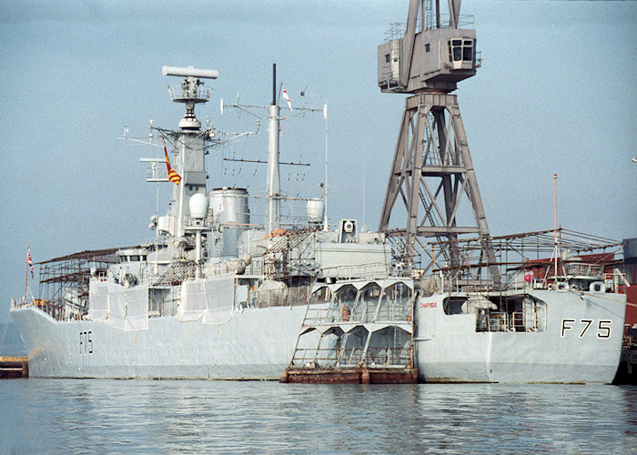 Charybdis pictured in Portsmouth Naval Base on 20th February 1988