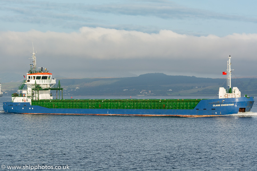 Clare Christine pictured passing Greenock on 10th October 2016
