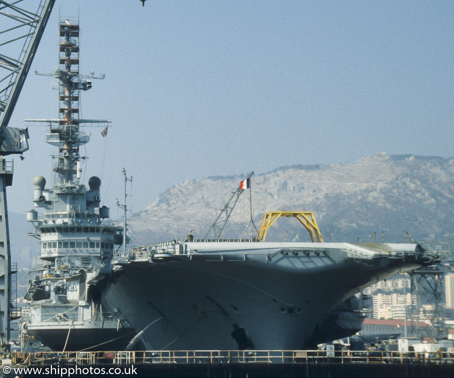 Clemenceau pictured in dry dock at Toulon on 15th August 1989