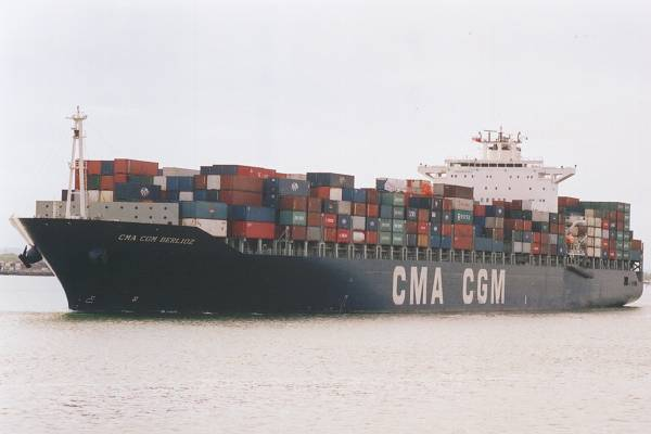 CMA CGM Berlioz pictured departing Southampton on 20th April 2002