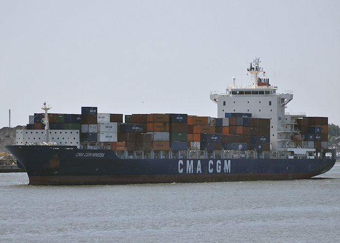 CMA CGM Mimosa pictured passing Vlaardingen on 27th June 2011