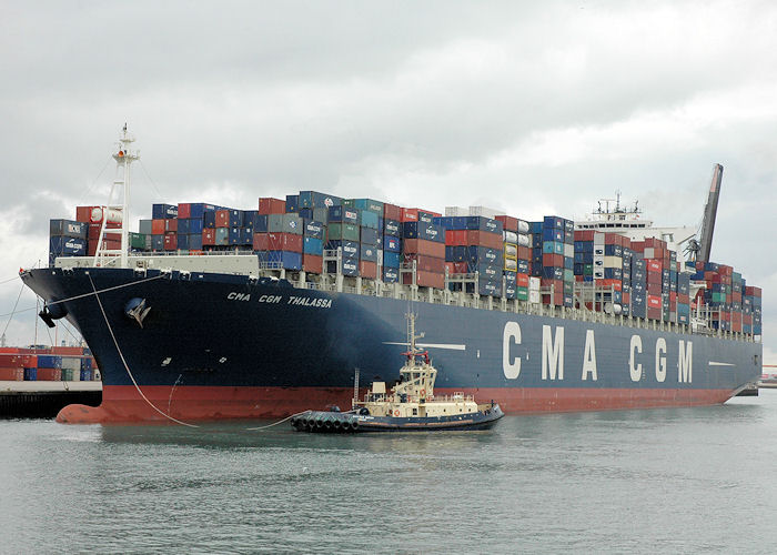 CMA CGM Thalassa pictured at Southampton Container Terminal on 14th August 2010
