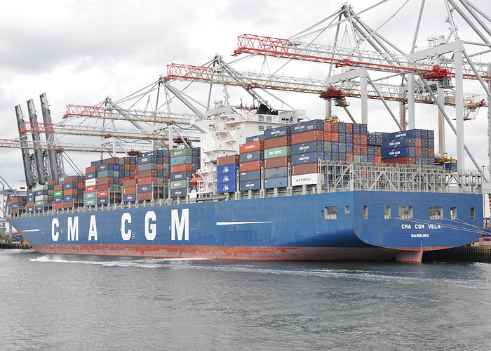 CMA CGM Vela pictured at Southampton Container Terminal on 6th August 2011