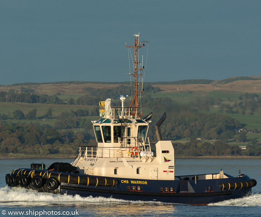 CMS Warrior pictured passing Greenock on 9th October 2016