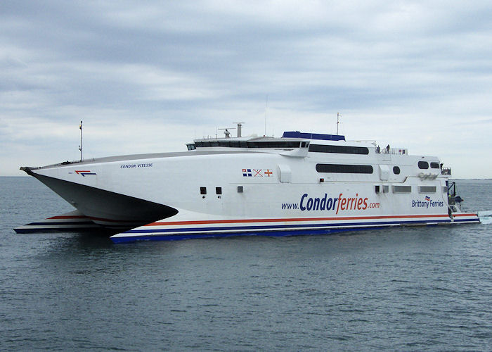 Condor Vitesse pictured arriving at St. Peter Port on 18th June 2008
