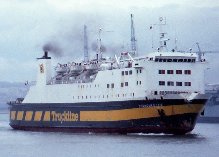 Cornouailles pictured departing Portsmouth Harbour on 18th December 1987