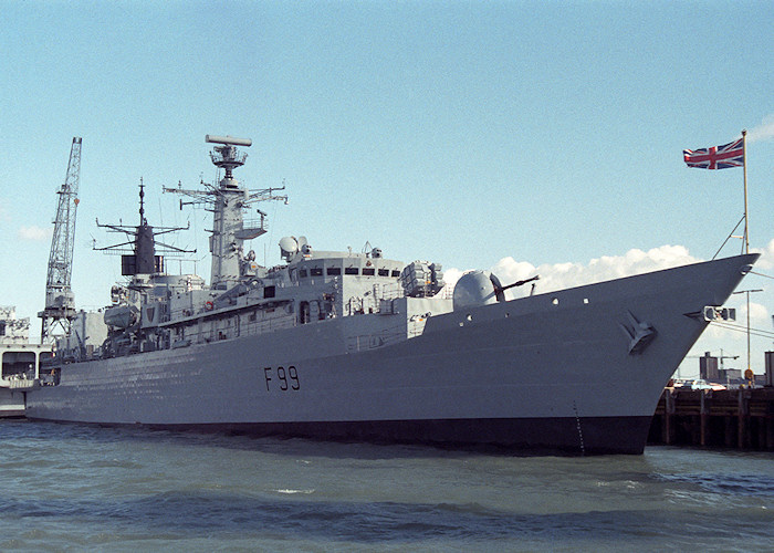 Cornwall pictured in Portsmouth Naval Base on 26th March 1988
