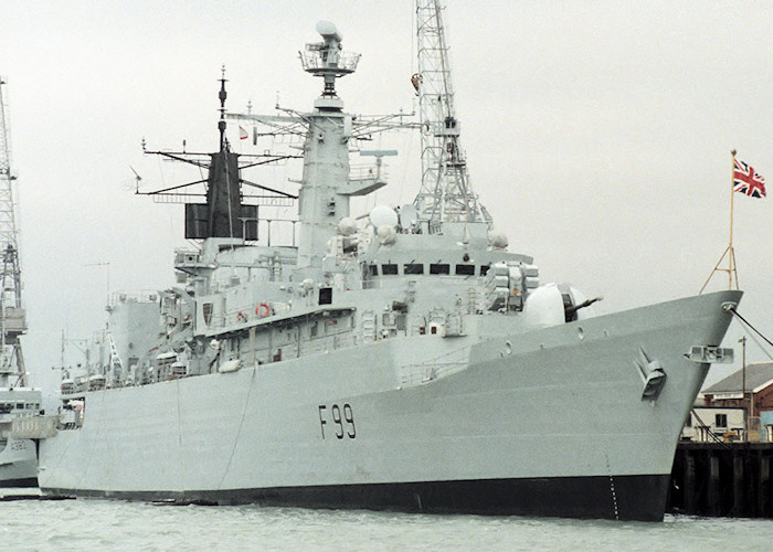Cornwall pictured in Portsmouth Naval Base on 10th July 1988