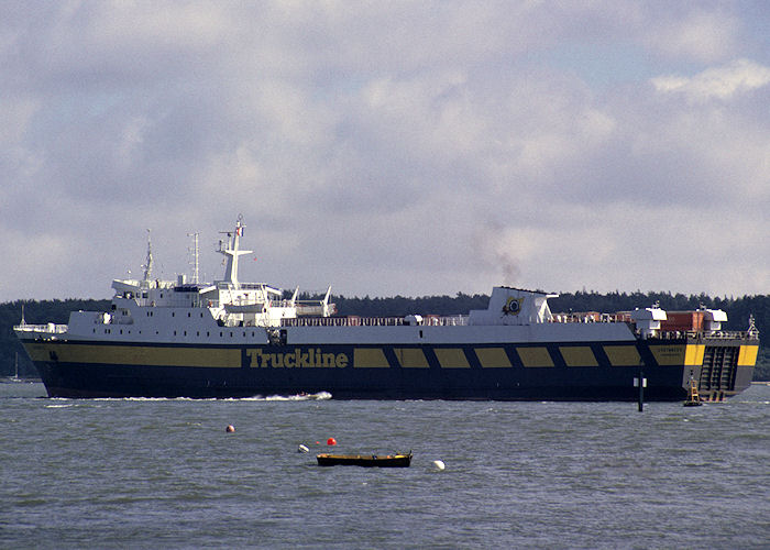 Coutances pictured departing Poole on 27th July 1991